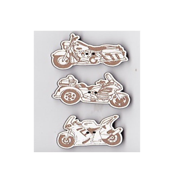 "Buttons craft Board wood motif ""motorcycle"""