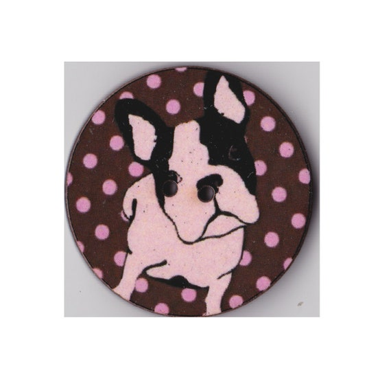 Bulldog dog - Button wood handcrafted Princess heart