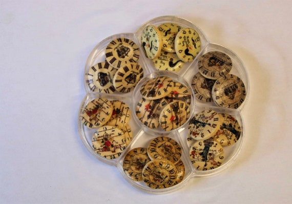 clock - assorted wood buttons