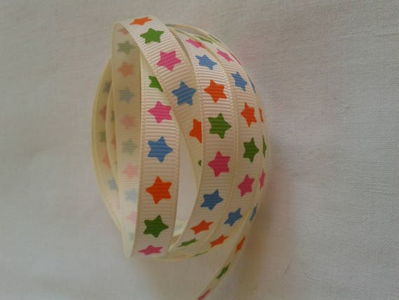 R - Ribbon grosgrain pattern beige star - 10 mm - 2 M