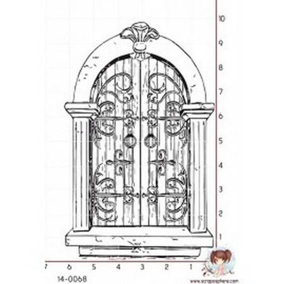 """SCR150 pattern """"portal"""" rubber stamp mounted on foam"""