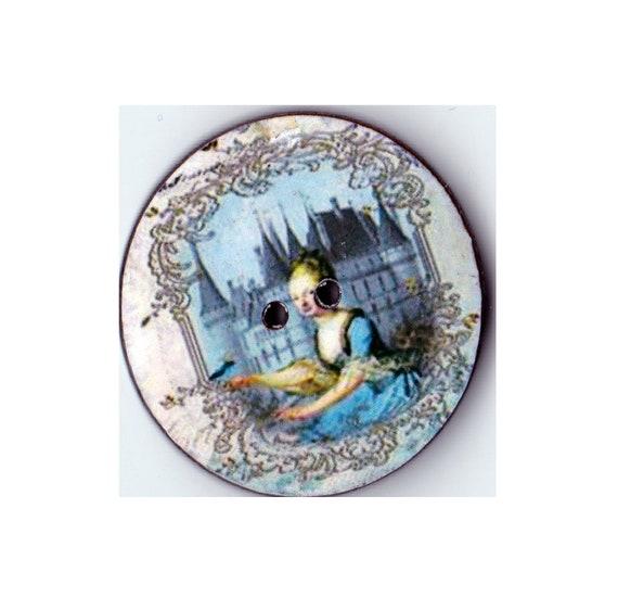 Wooden handcrafted Princess heart Pompadour button
