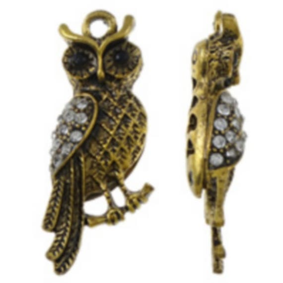 "1 large charm ""OWL"" gold with Rhinestones size 12 x 37 mm"