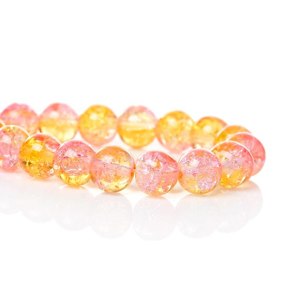 Set of 10 glass beads - yellow and pink transparent - 8 mm