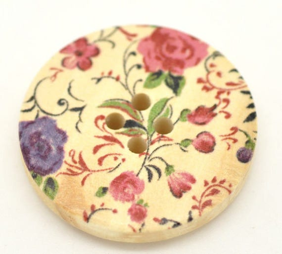 BBR30220 - 6 round buttons with colorful wooden 30 mm