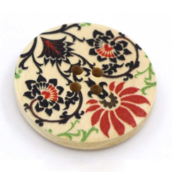 BBR30307 - 6 round buttons with colorful wooden 30 mm