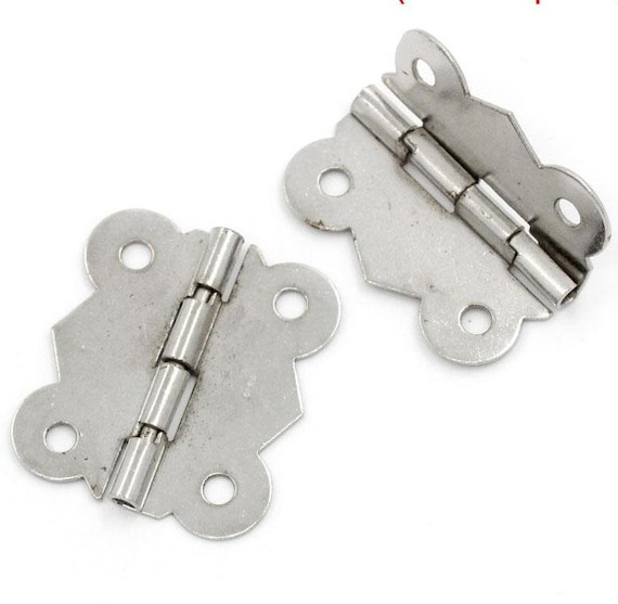 Set of 2 hinges - silver - size: 30 mm