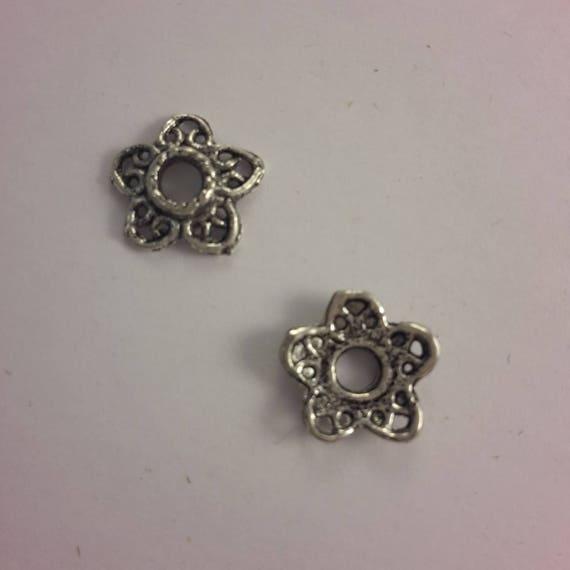 Set of 10 caps - silver color - 12 mm