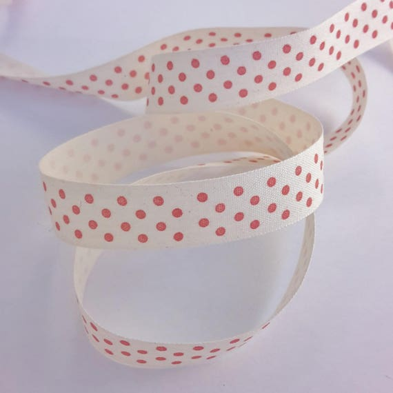 R - Tape - 10 mm - 1 M color salmon pink polka dots cotton