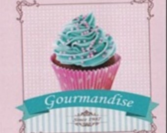 """CUP CAKE 1: coupon TWILL of cotton pattern """"cup cake"""""""