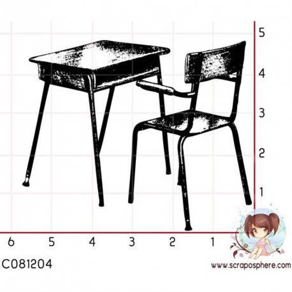 """Pattern """"School desk"""" rubber stamp mounted on foam"""