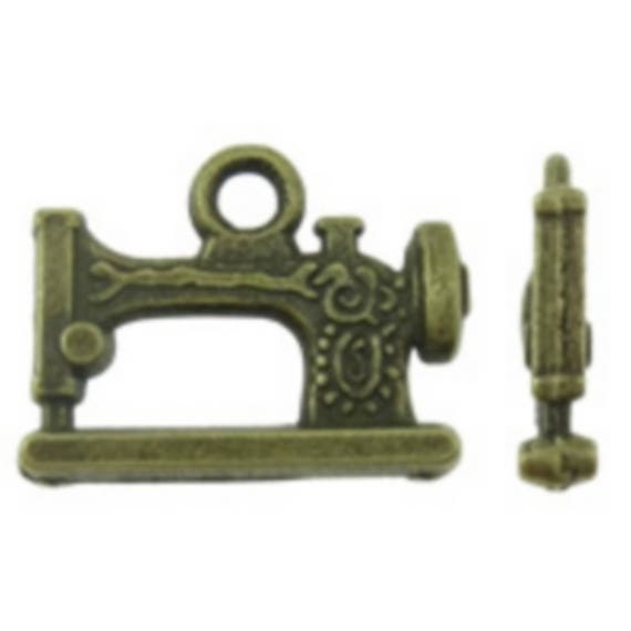 """Set of 5 charms """"Sewing Machine"""" bronze size 20 x 15 mm"""