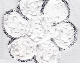 Embroidery lace - white - flower with sequin pattern