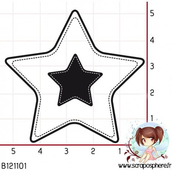 SCR68 scraposphere rubber stamp has star
