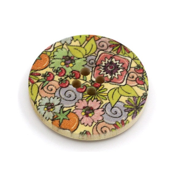 BBR30296 - 6 round buttons with colorful wooden 30 mm
