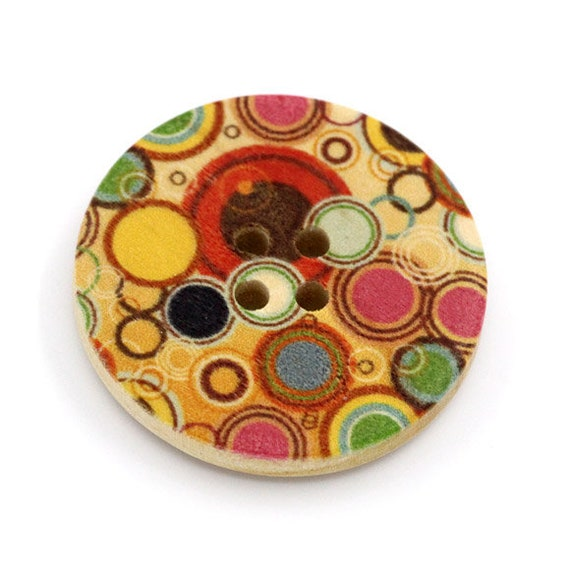 BBR30300 - 6 round buttons with colorful wooden 30 mm