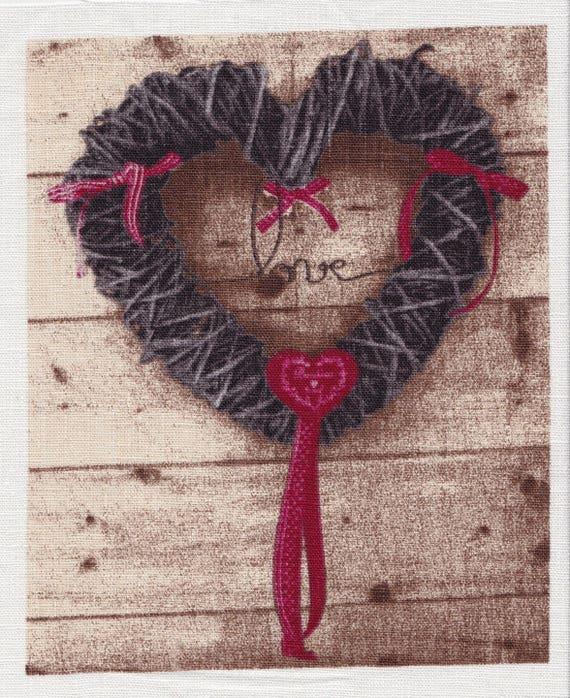 APPLIQUE HEART 8 BLACK LINEN