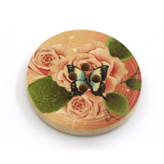 BBR30295 - 6 round buttons with colorful wooden 30 mm