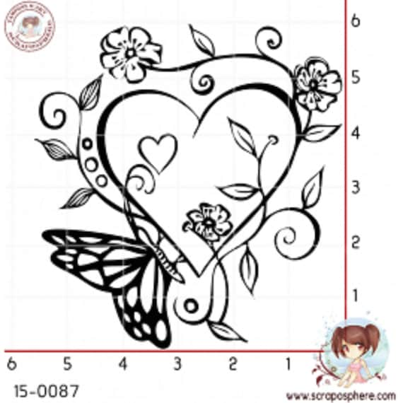 rubber stamp to heart and Butterfly pattern