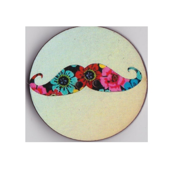 Mustache button wood handcrafted Princess heart