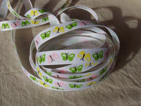 R150 - Butterflies - 10 mm - 2 M white grosgrain Ribbon