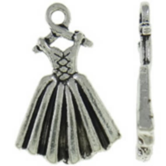 """Set of 5 charms """"Dress"""" of color silver size 14 x 21 mm"""
