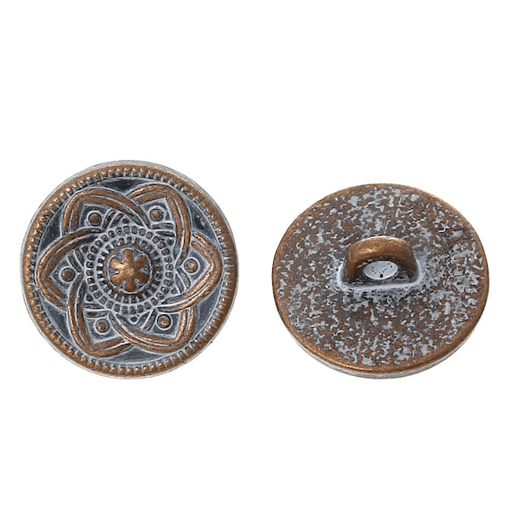 Set of 2 metal - blue flower pattern - 15 mm buttons