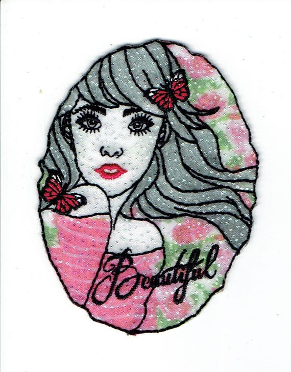 """Patch fusible trend pattern """"Woman face"""""""