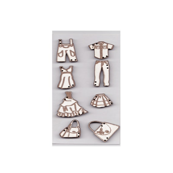 "Buttons craft Board wood motif ""fashion garment"""
