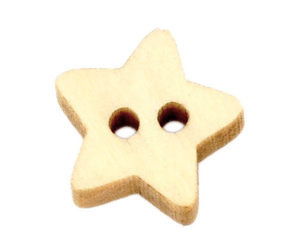 "BBN200 - 6 natural wood button ""Star"" pattern"