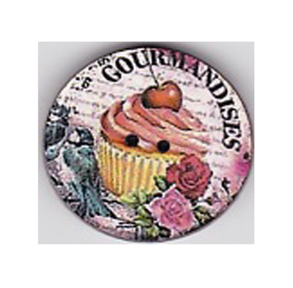 Cup cake button cherry wood handcrafted Princess heart