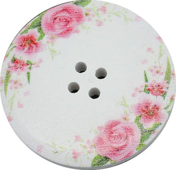 BB40142 - 2 large round wood buttons size 4 CM colorful