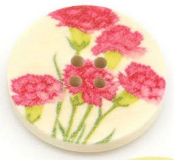 BBR30231 - 6 Boutons rond 30 mm en bois avec motif fleur