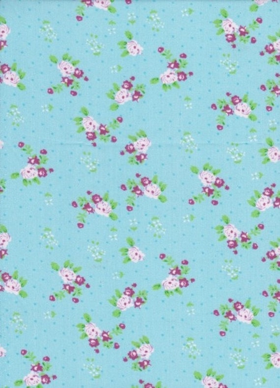Fabric flowers liberty type - cotton - coupon 50 x 55 cm