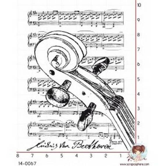 """SCR112 rubber stamp to assemble pattern """"sheet music 2"""""""