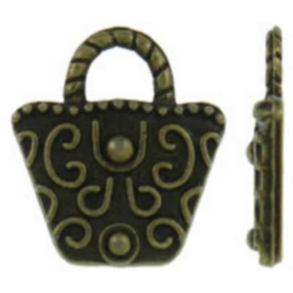 "Set of 5 ""Bag"" bronze charm size 15 x 17 mm"