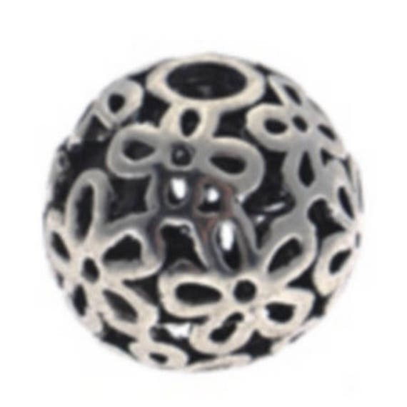 Set of 5 beads hollow metal - silver - 15 mm