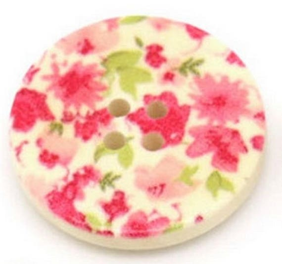 BBR30233 - 6 round buttons with colorful wooden 30 mm