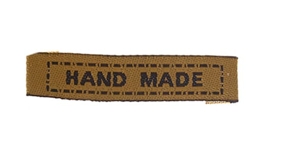 """Woven with writing """"hand made"""" set of 6 labels"""