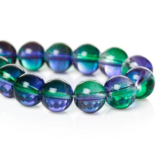 Set of 10 glass beads - blue and green transparent - 10 mm