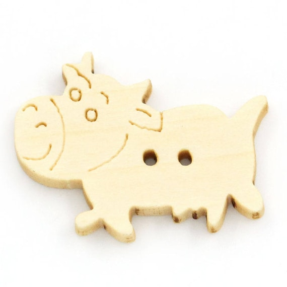 "BBN214 - 6 wooden buttons natural ""cow"" pattern"