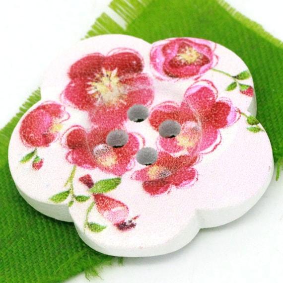 BBFL27105 - 4 flower 27 mm wooden buttons