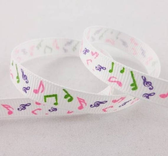-White grosgrain Ribbon note music - 10 mm - 1 M