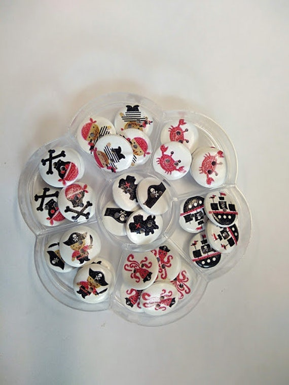 Pirate - assorted wood buttons