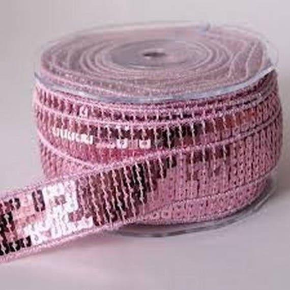 Ribbon spangle sequin light pink color 2.5 cm wide