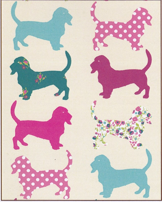 Fabric dog dog pattern cotton, in shades of pink and blue, coupon 50 x 47 cm