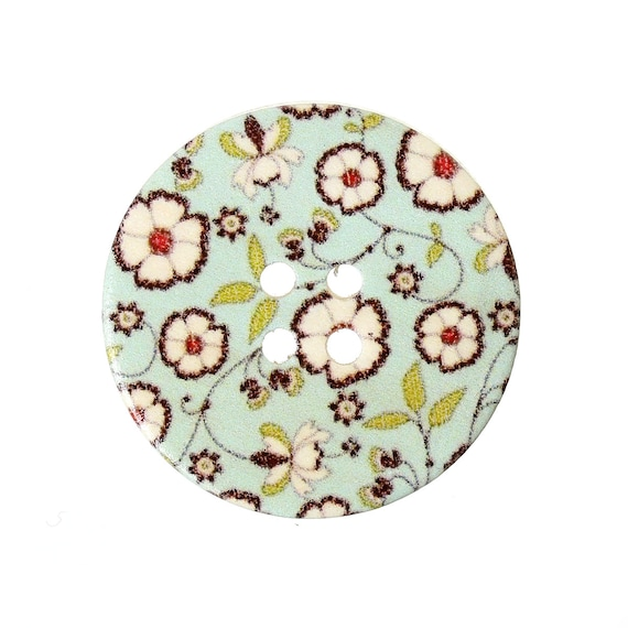 BBR30306 - 6 round buttons with colorful wooden 30 mm