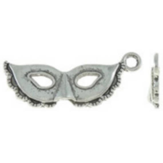 "Set of 5 charms ""Venetian mask"" silver color size 13 x 31 mm"
