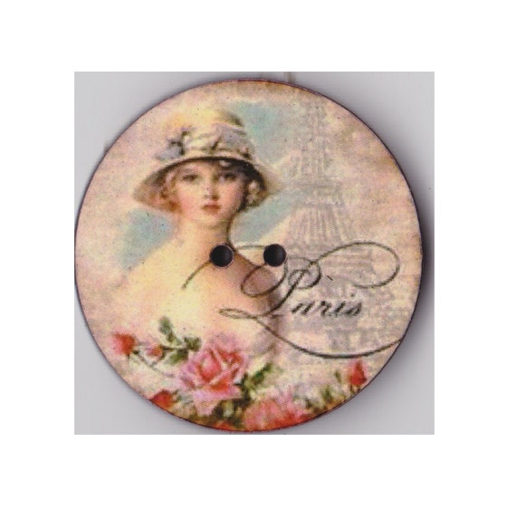 Paris Lady button wood handcrafted Princess heart