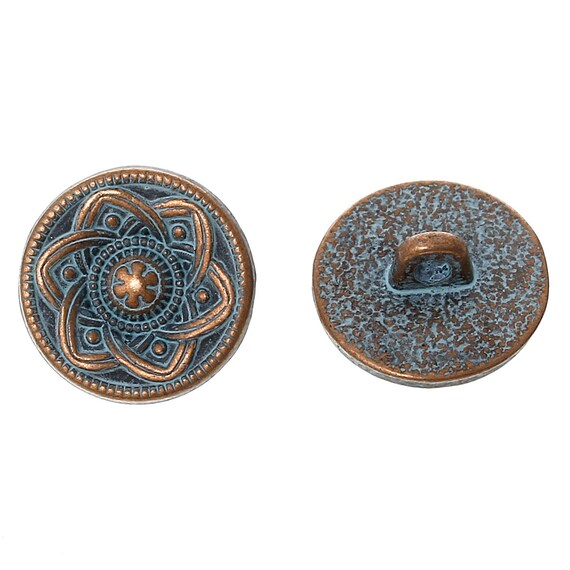 Set of 2 metal - blue flower pattern - 15 mm buttons